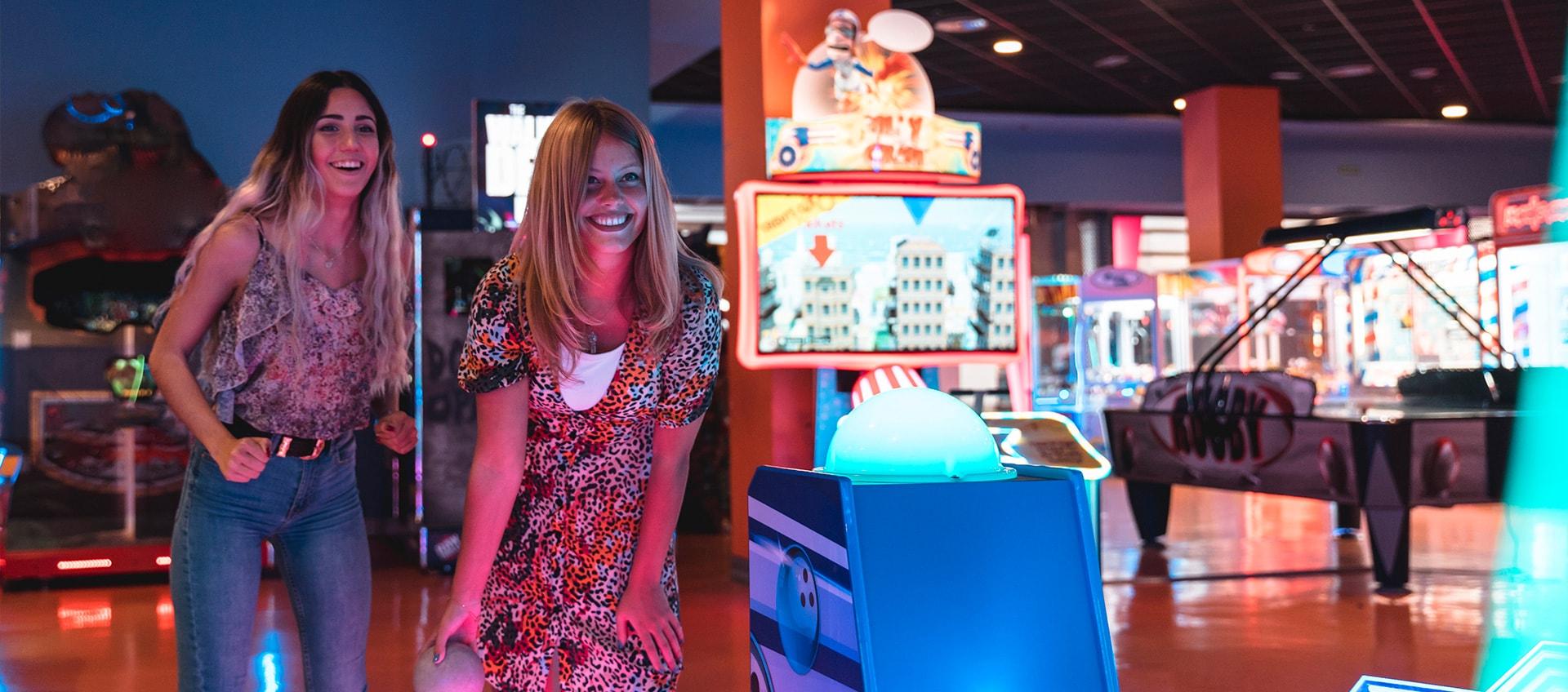 having fun at an arcade